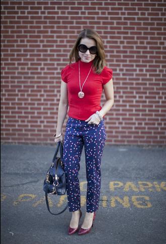 pants top polka dots capri pants polka dots blue pants red top necklace pumps red pumps bag black bag sunglasses black sunglasses