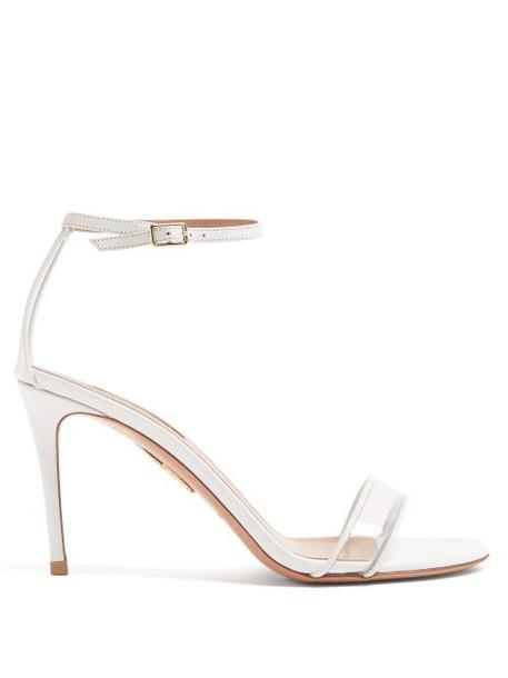 Aquazzura - Minimalist 85 Leather Sandals - Womens - White