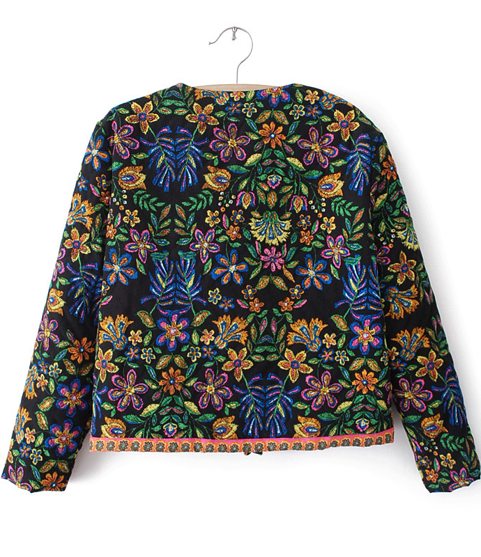Black Long Sleeve Floral Crop Outerwear - Sheinside.com