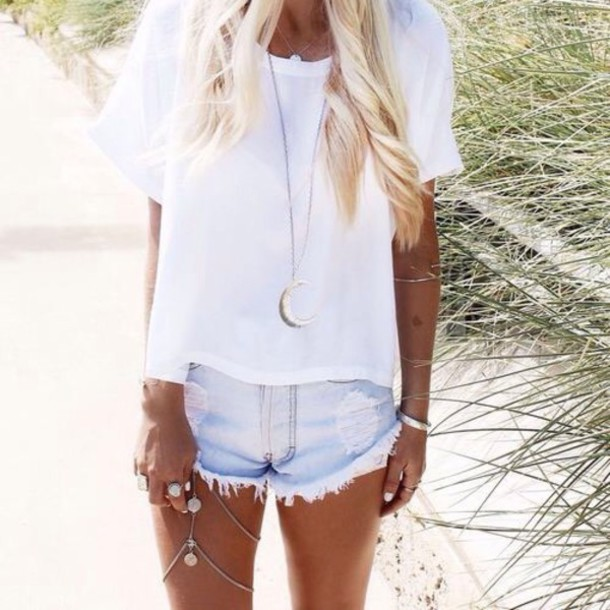 t-shirt shorts jewels blouse white t-shirt denim shorts white t-shirt top denim