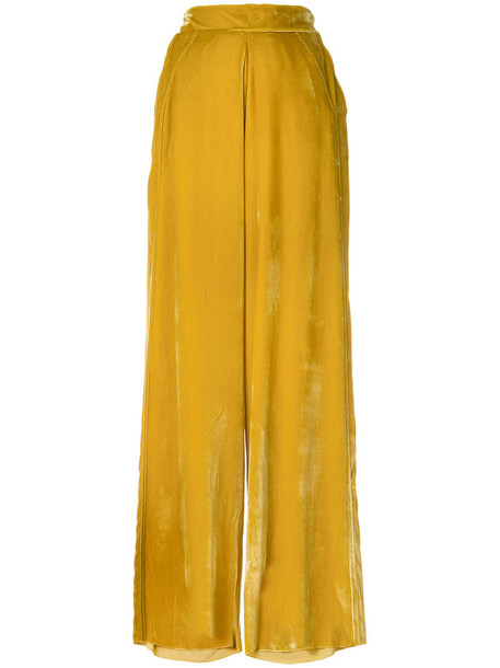 women silk velvet yellow orange pants