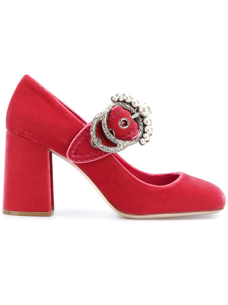 Miu Miu women pumps leather velvet purple pink shoes