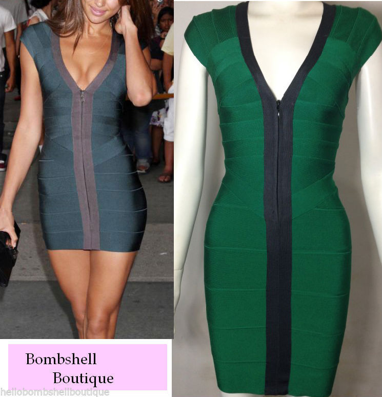 Emerald Green Goddess Bandage Dress Front Zip Celebrity Inspired Prom Wedding | eBay