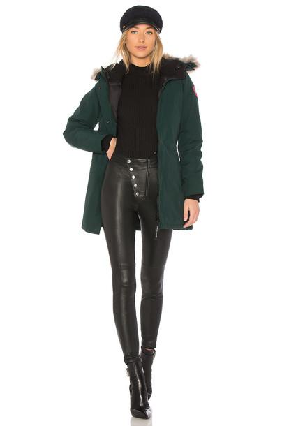 canada goose parka dark green coat