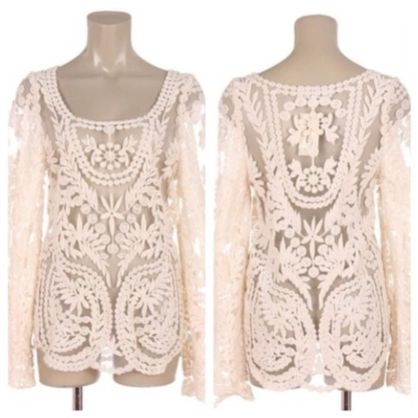 Blouse: lace top, beige top, crochet top - Wheretoget