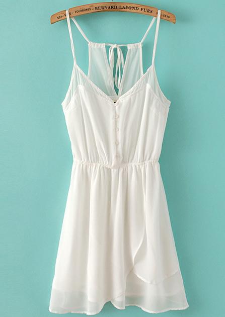 White spaghetti straps buttons front chiffon dress