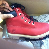 shoes,red timberlands