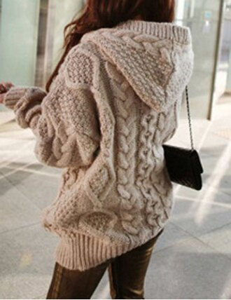 sweater knitwear cream beige hoodie fall outfits back to school purse autumn/winter