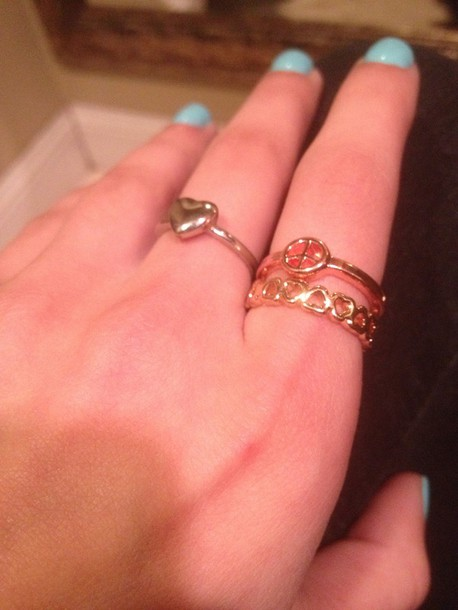 jewels gold gold ring silver ring heart peace sign