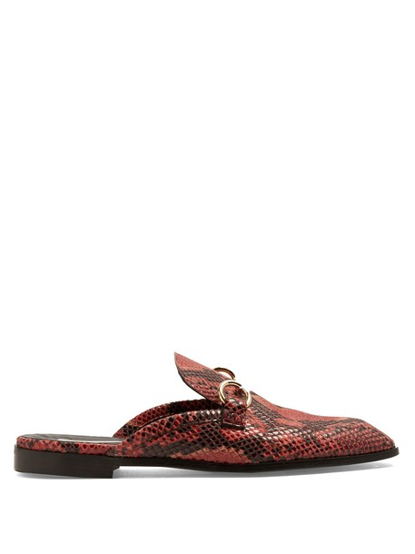 Stella McCartney backless python loafers leather red shoes
