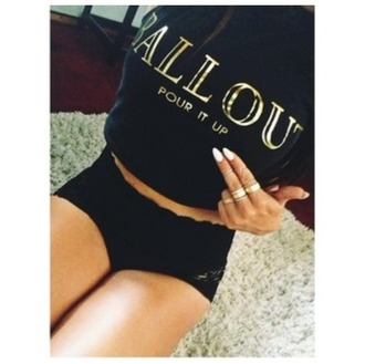 sweater ballout pour it up white nails gold sweatshirt ring shirt rihanna crop tops