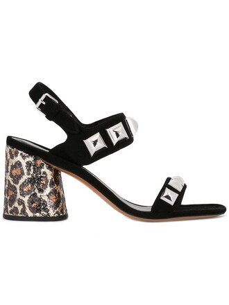 heel metal women plastic sandals leather print suede black leopard print shoes