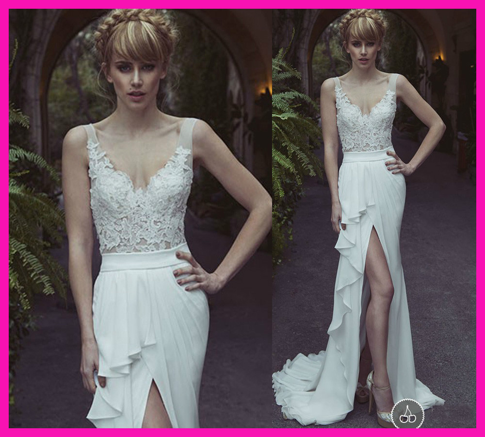 Sexy A Line V Neck Lace Side Slit Sheer Chiffon Summer Beach Wedding Dresses Bridal Gowns W2619-in Wedding Dresses from Apparel & Accessories on Aliexpress.com