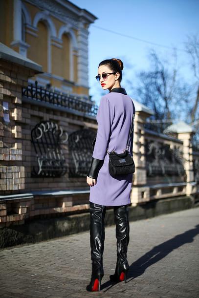 tina sizonova blogger purple vinyl louboutin dress bag shoes