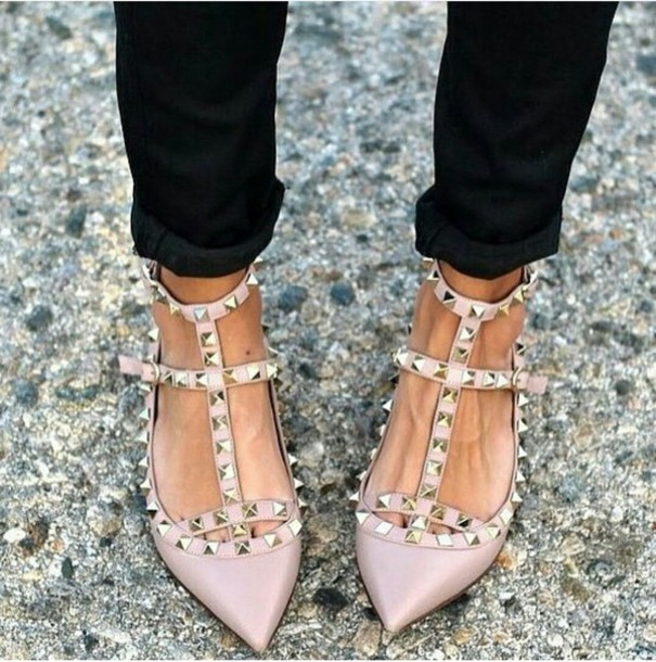 shoes, nude, studded shoes, flats