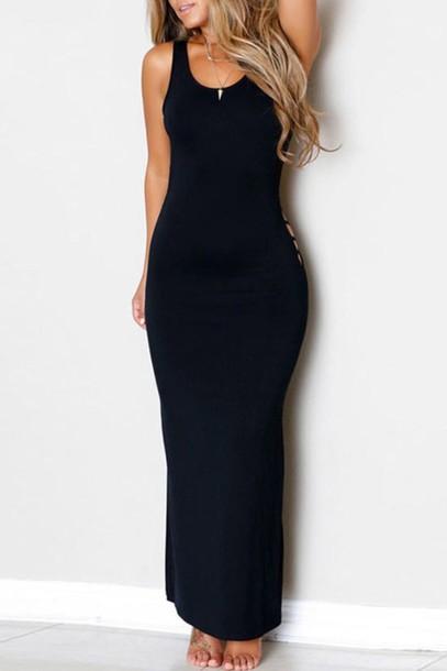 Dress Zaful Black Dress Long Black Dress Black Cut Out Dress