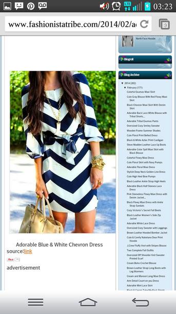 dress navy blue & white chevron 3/4 sleeves