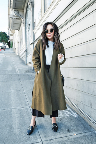 coat tumblr long coat green coat khaki pants black pants cropped pants shoes loafers sunglasses