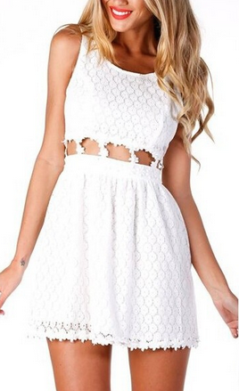 Cute Lace Dew waist One-piece Dress