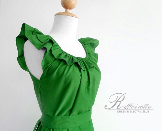 For bethany's bridesmaids  ruffled collar dress in green by ananya