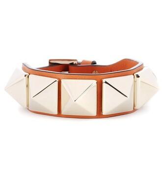 leather orange jewels