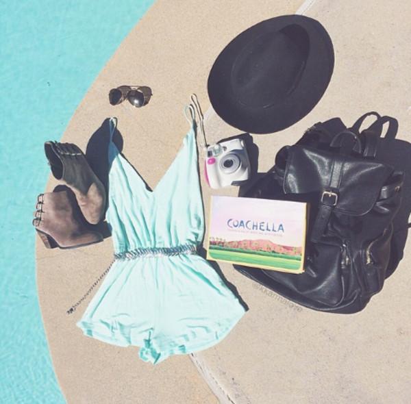 dress jumpsuit romper summer blue turquoise hat bag shoes