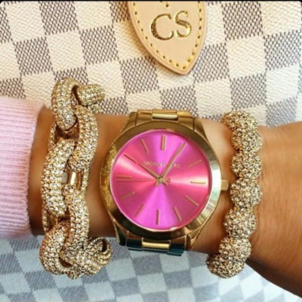 jewels micheal kors watch gold micheal kors watch michael kors watch watch bracelet chains rhinestones pink watch gold watch