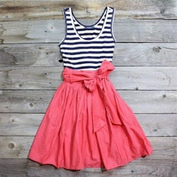dress navy stripes coral dress