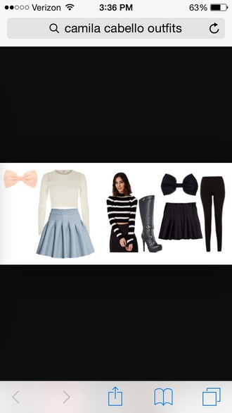 top crop tops bow skirt