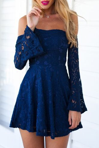 dress blue mini dress boho boho dress zaful off the shoulder summer skater dress summer outfits royal blue off the shoulder dress cute cute dress chic instagram sexy pretty beautiful blue dress lace dress blue lace dress royal blue dress long sleeves lace navy blue formal dress long sleeve dress over the shoulder sleeve