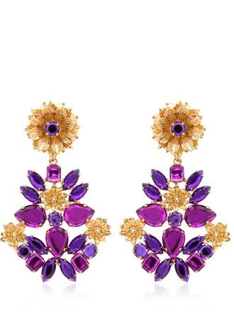 earrings gold purple jewels