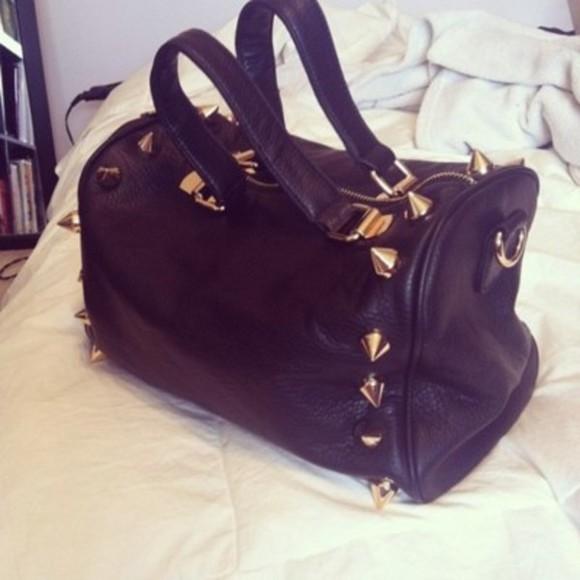 bag handbag black black purse gold studs spikes studded bag studded purse black bag oversized oversize
