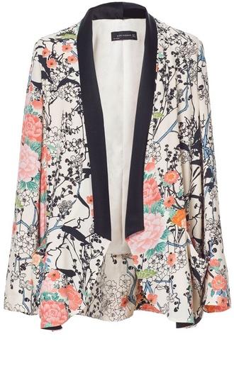 jacket floral blazer spring viscose zara jacket