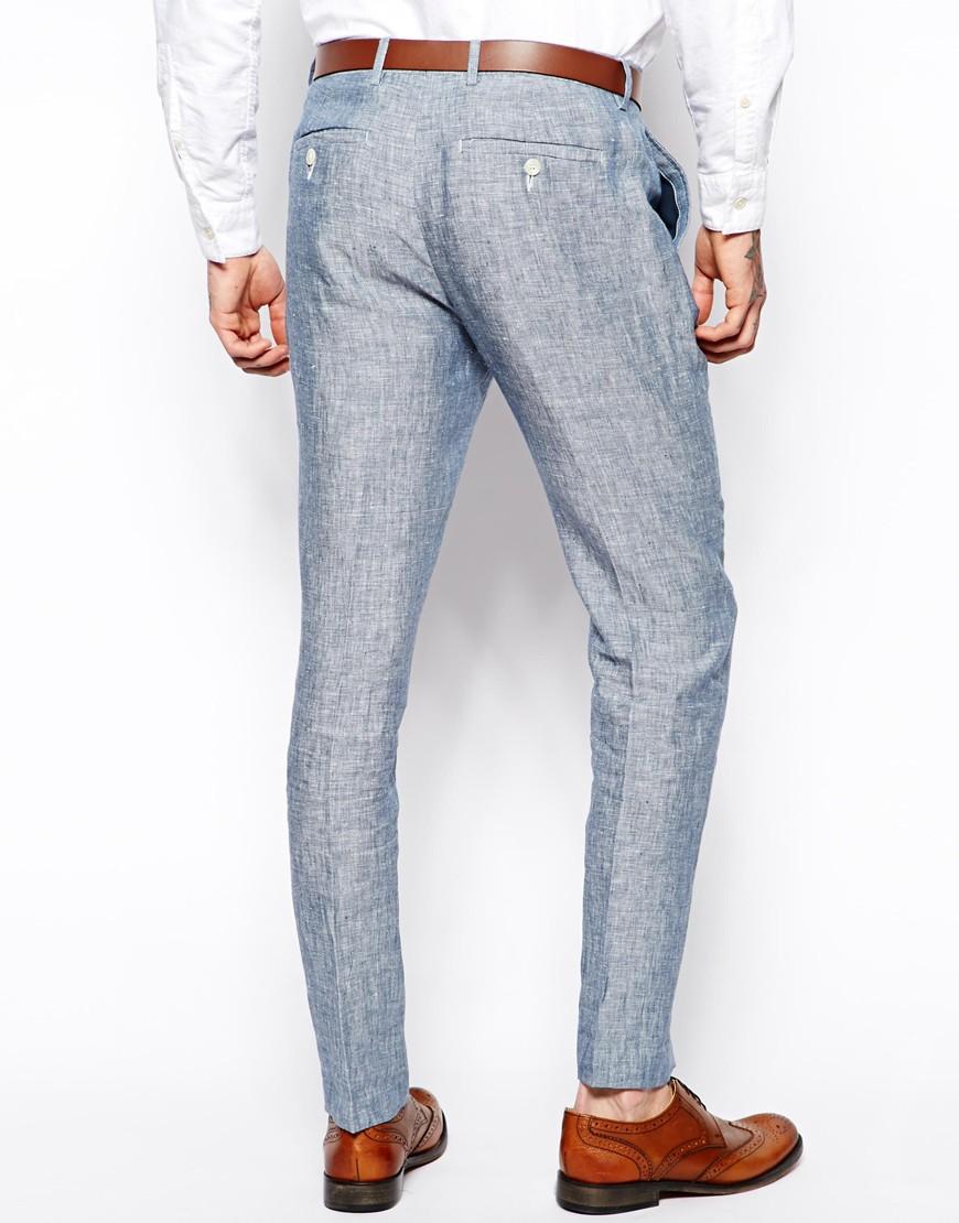 ASOS Slim Fit Smart Trousers In Linen at asos.com