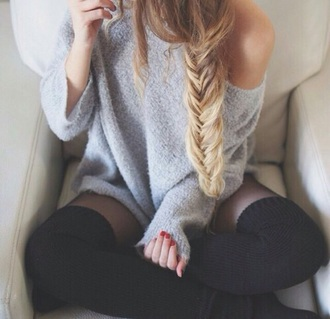 sweater grey sweater socks grey oversized girly fluffy textured top clothes fashion girl urban edgy hipster comfy everyday pretty grunge shirt sweater dress cozy cozy sweater winter outfits winter sweater