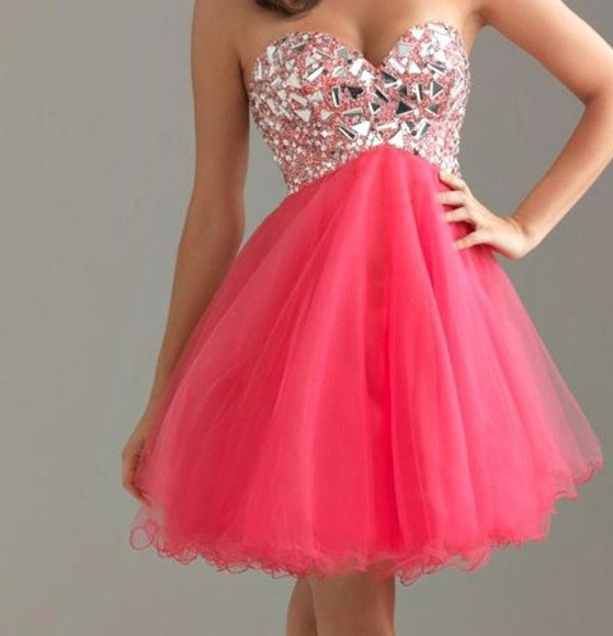 dress pink dress pink gemstone sparkling dress glitter girly