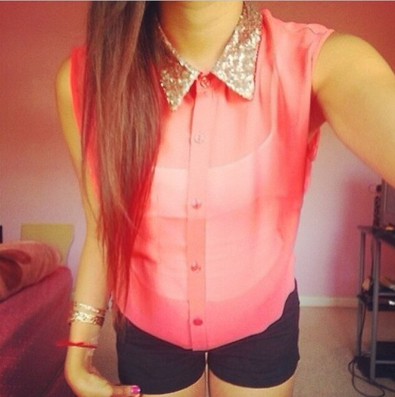 sparkly blouse pink shirt cute