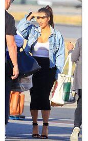 skirt,spring outfits,sandals,kim kardashian,kardashians,denim jacket,shoes,white top,black skirt,black sandals
