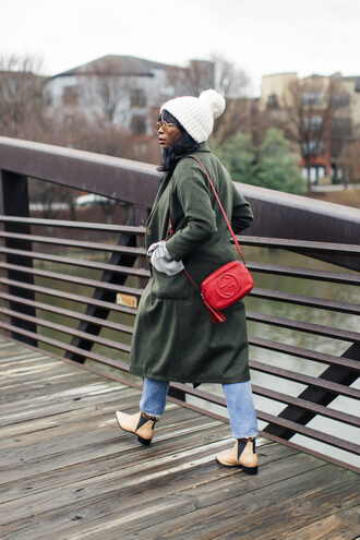 millennielle blogger coat sweater jeans hat shoes bag beanie red bag gucci bag green coat ankle boots winter outfits green long coat