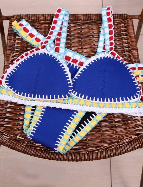 Women's Handmade Crochet Knit Suit Triangle Bikini Set
