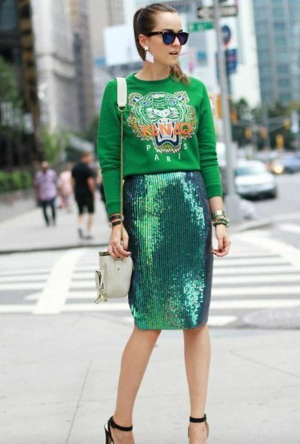 Skirt: red, burberry, burberry prorsum, sequin pencil skirt ...