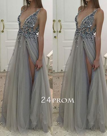 Gray A-line v neck tulle long prom dress, evening dress - 24prom