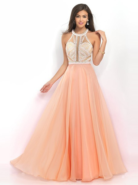 Dress: beautiful, peach, peach dress, pearl, long dress, long prom ...