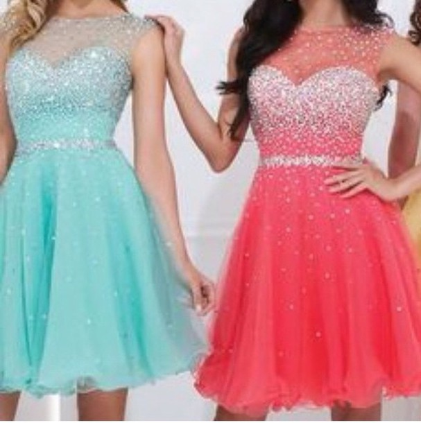 Blue and Pink Short Dresses