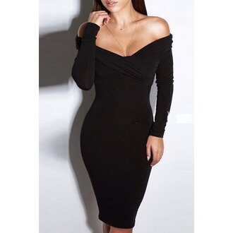 dress black off the shoulder sexy hot sexy dress rose wholesale cleavage pretty trendy cool long sleeves fashion crossed solid color off the shoulder dress party black dress zaful