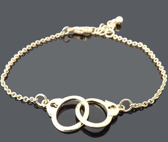 Handcuffs bracelet gold bracelet simple by jewelrycraftstudio