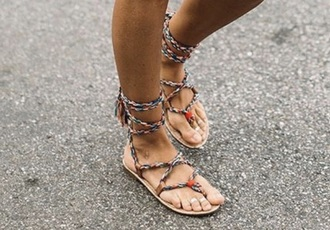 shoes multicolor braided sandals lace-up shoes