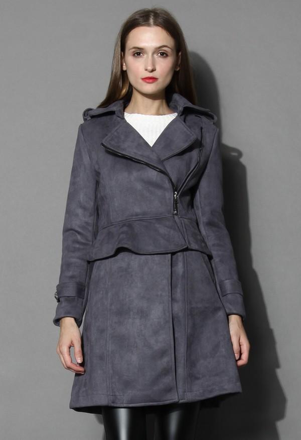 chicwish faux suede coat panel peplum coat grey coat