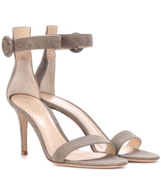 Gianvito Rossi sandals suede grey shoes