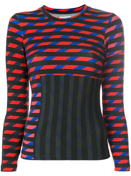 Henrik Vibskov blouse long women spandex stripes print black top